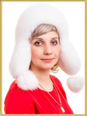"""Белая песцовая шапка """"Амели"""""""